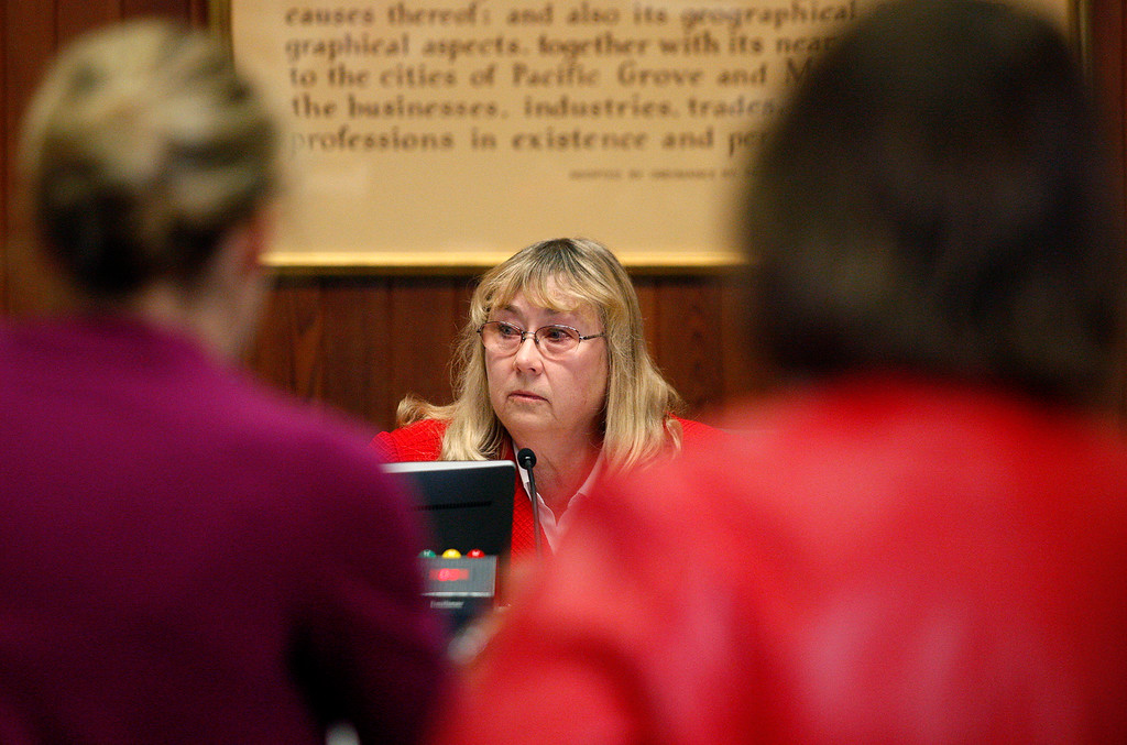 . Carmel city council member Carrie Theis listens to questions from the media after the Carmel mayor Steve Dallas investigation press conference on Wednesday, March 7, 2018.  (Vern Fisher - Monterey Herald)