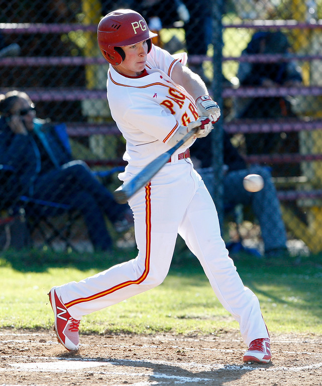 . Pacific Grove High\'s Colby Burnell (2) makes contact in the third inning during their game against Greenfield High on Wednesday, March 7, 2018.  (Vern Fisher - Monterey Herald)