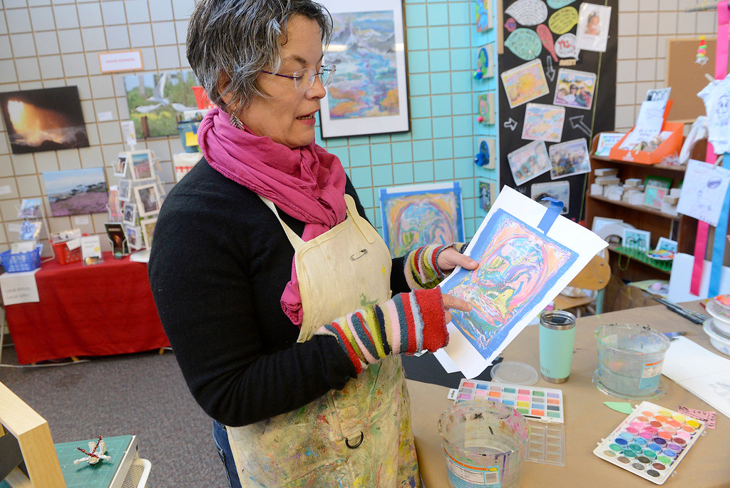 . Artist Tara Croft Carmichael in her studio space at ArtWorks in the American Tin Cannery in Pacific Grove on Friday, March 2, 2018.  (Vern Fisher - Monterey Herald)