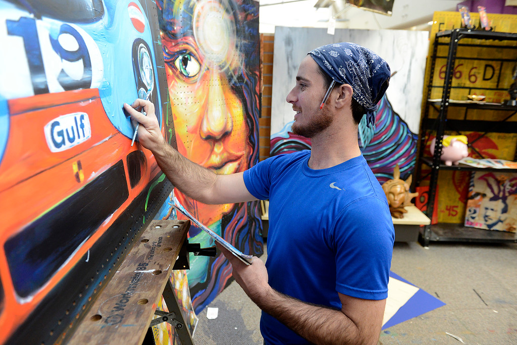 . Artist Bryan Gage in his studio space at ArtWorks in the American Tin Cannery in Pacific Grove on Friday, March 2, 2018.  (Vern Fisher - Monterey Herald)