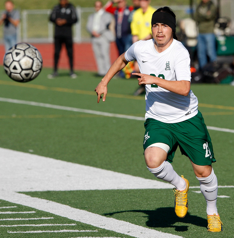 . Alisal High School\'s Carlos Pacheco (23) with the ball during their CIF Nor Cal semifinals soccer match against Bella Vista High School in Salinas on Thursday, March 8, 2018.  .  (Vern Fisher - Monterey Herald)