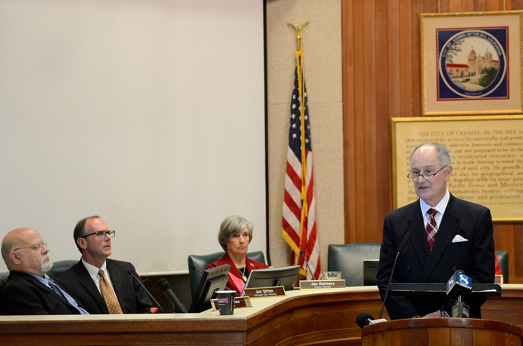 . Carmel city attorney Glen Mozingo discusses the findings on the Carmel mayor Steve Dallas investigation on Wednesday, March 7, 2018.  (Vern Fisher - Monterey Herald)