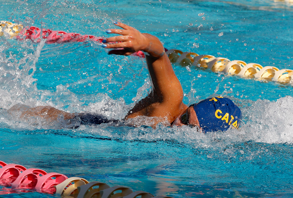 . Santa Catalina School\'s Damiera Cruz competes in the freesyle leg of the 200 medley relay at Pacific Grove High School on Friday, March 23, 2018.  (Vern Fisher - Monterey Herald)