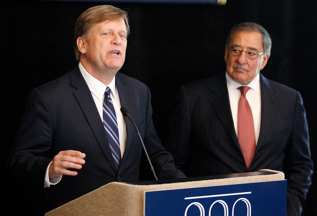 . Former U.S. Ambassador to Russia Michael McFaul and Leon Panetta at the Panetta Lecture Series in Monterey on Monday, March 26, 2018.  (Vern Fisher - Monterey Herald)