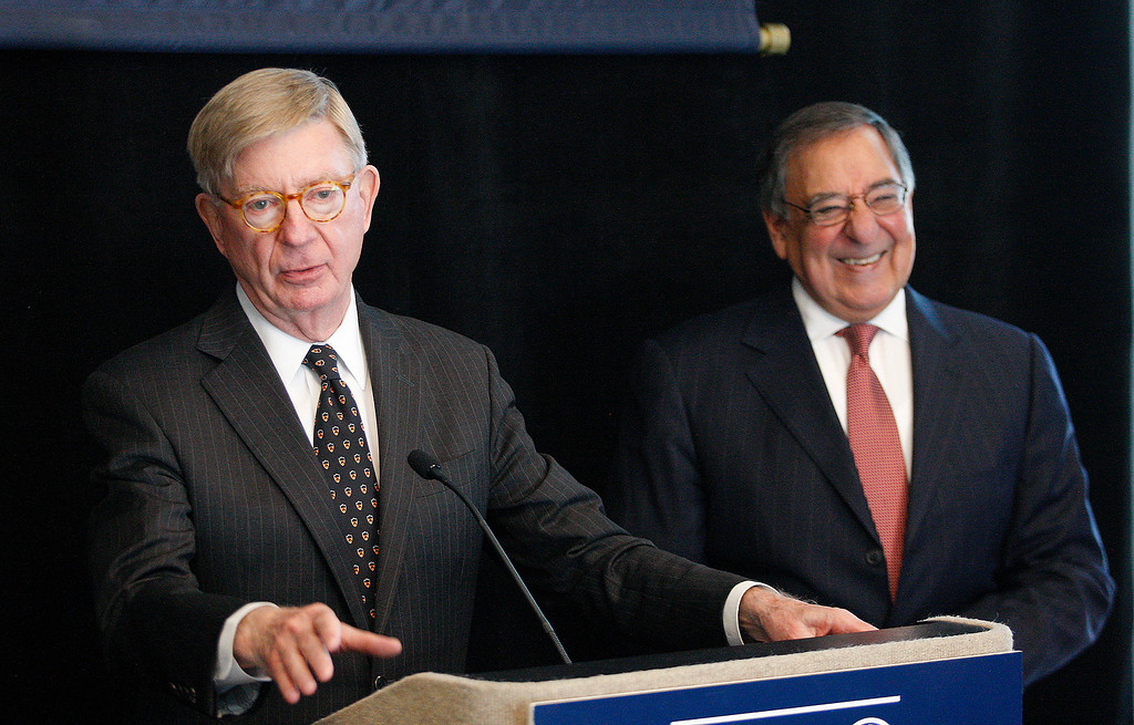 . Political columnist George Will and Leon Panetta at the Panetta Lecture Series in Monterey on Monday, March 26, 2018.  (Vern Fisher - Monterey Herald)