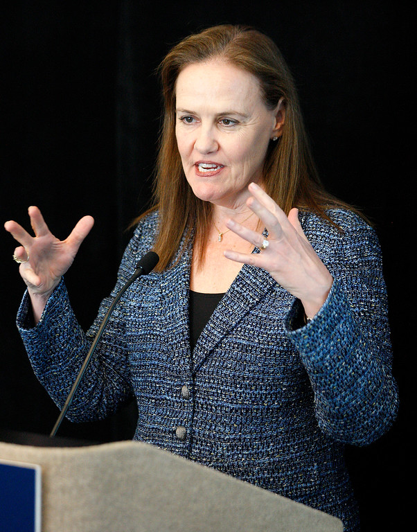 . Political columnist Michele Flournoy speaks at the Panetta Lecture Series in Monterey on Monday, March 26, 2018.  (Vern Fisher - Monterey Herald)