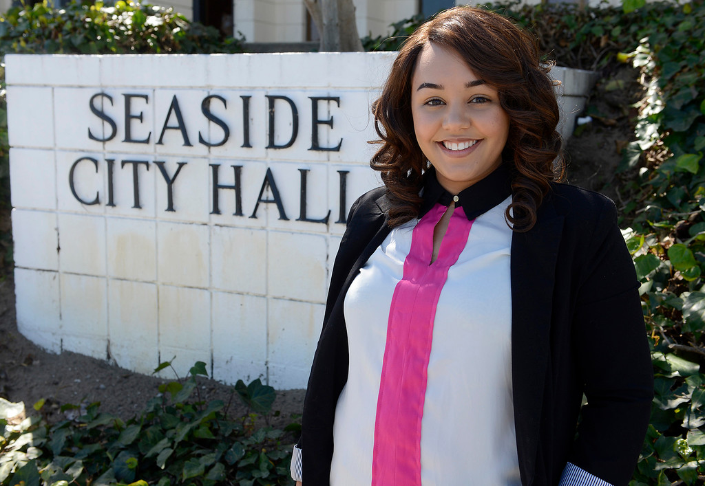 . Seaside city council member Kayla Jones, 24, in Seaside on Wednesday, March 28, 2018.  Jones has announced her candidacy for mayor of Seaside in the upcoming election.  (Vern Fisher - Monterey Herald)