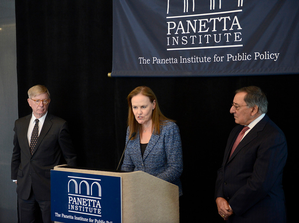 . Political columnist George Will and Leon Panetta listen to political columnist Michele Flournoy as she speaks at the Panetta Lecture Series in Monterey on Monday, March 26, 2018.  (Vern Fisher - Monterey Herald)
