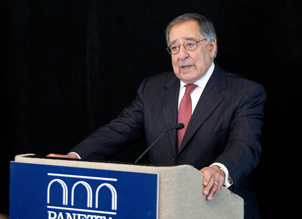. Leon Panetta speaks at the Panetta Lecture Series in Monterey on Monday, March 26, 2018.  (Vern Fisher - Monterey Herald)