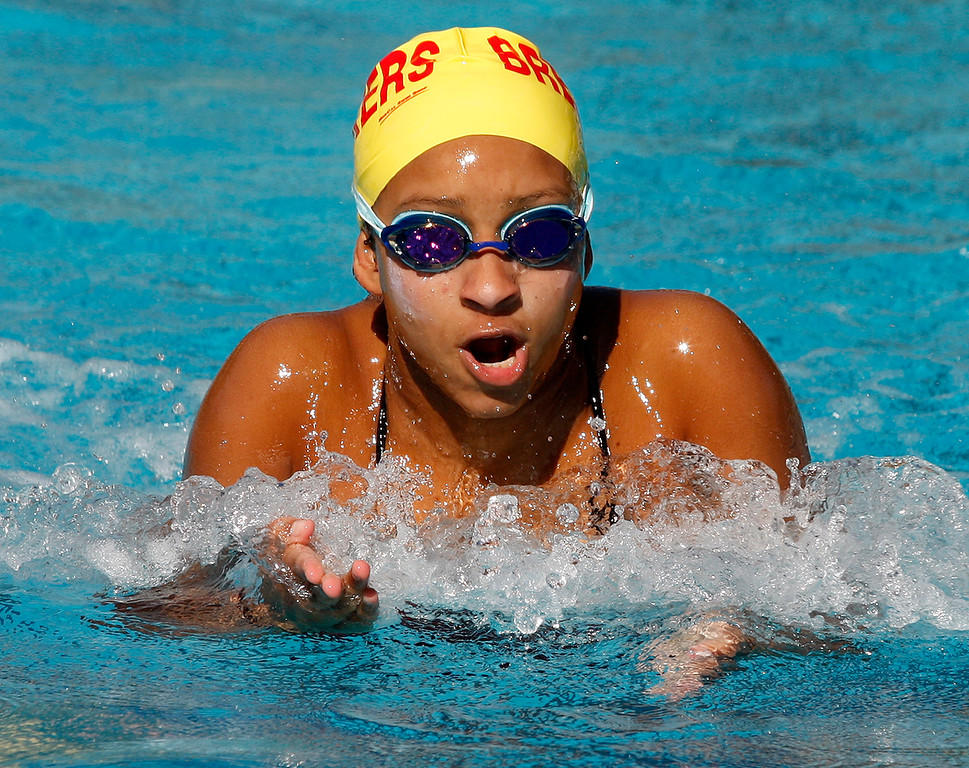 . Pacific Grove High School\'s Selly Diallo competes in the breast stroke leg of the 200 medley relay at Pacific Grove High School on Friday, March 23, 2018.  (Vern Fisher - Monterey Herald)