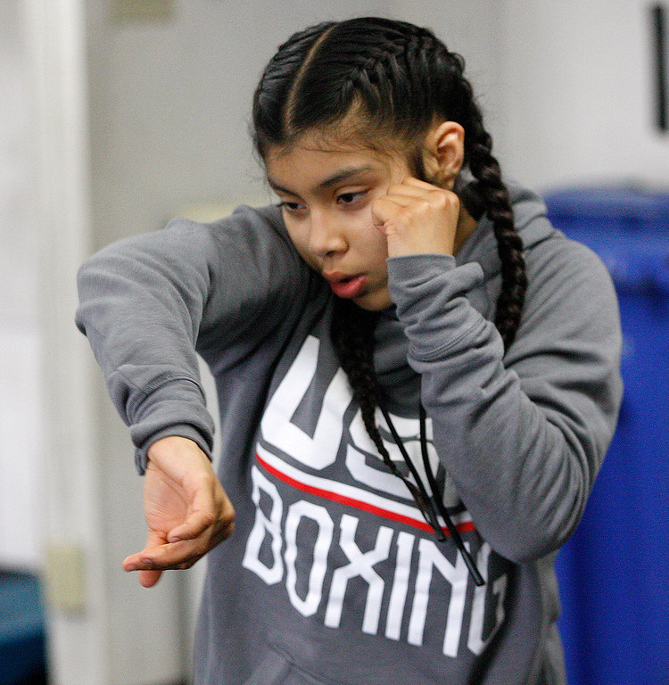 . Salinas Boxing Club fighter Maria Jardines, 14, during training at the Salinas Boxing Club on Thursday, March 22, 2018.  (Vern Fisher - Monterey Herald)