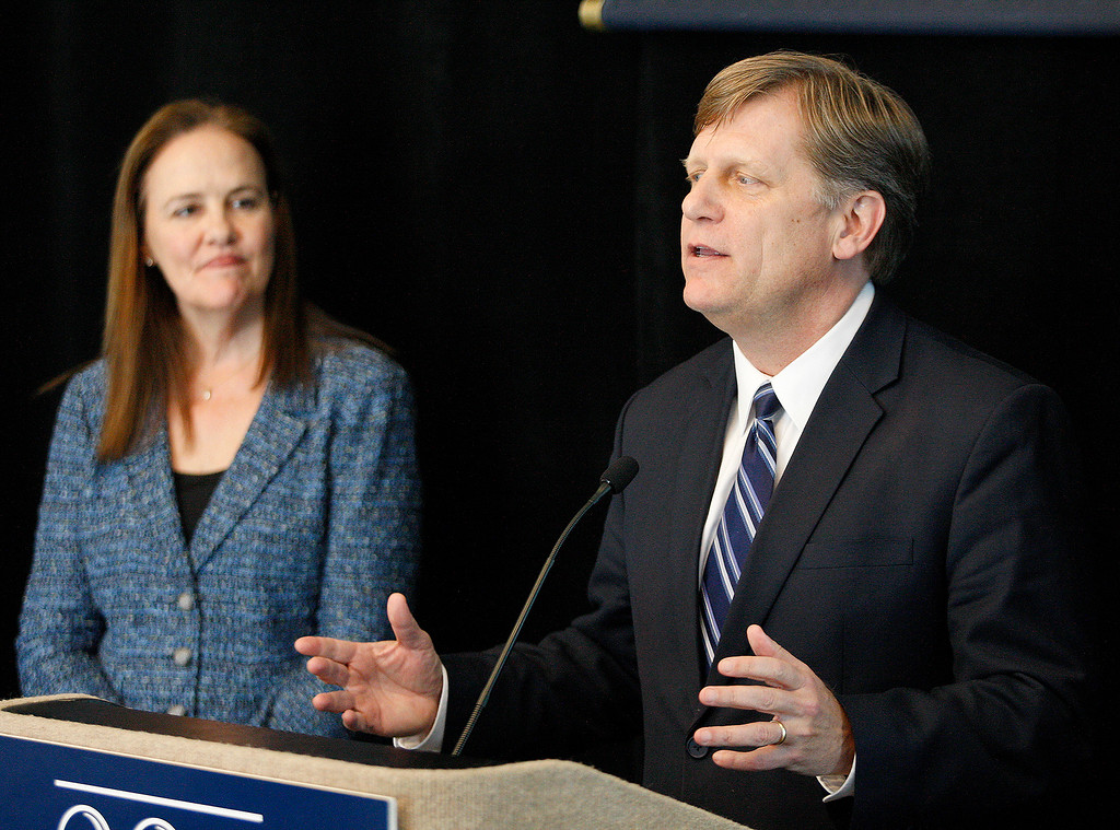. Political columnist Michele Flournoy listens to former U.S. Ambassador to Russia Michael McFaul as he speaks at the Panetta Lecture Series in Monterey on Monday, March 26, 2018.  (Vern Fisher - Monterey Herald)