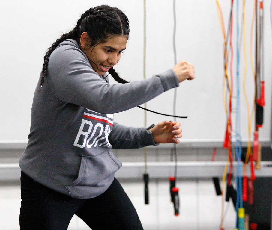 . Salinas Boxing Club fighter Iris Rivera, 17, during training at the Salinas Boxing Club on Thursday, March 22, 2018.  (Vern Fisher - Monterey Herald)