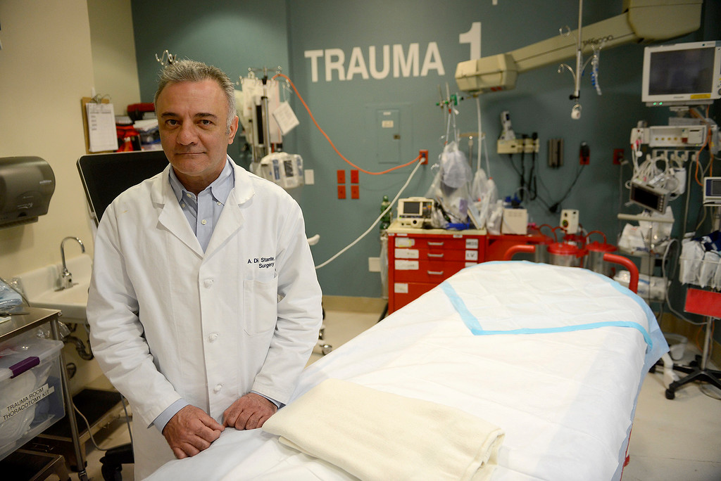 . Dr. Alex Di Stante inside a trauma room at Natividad Hospital in Salinas on Thursday, March 29, 2018.  Dr. Di Stante was a key figure in bringing the trauma center to Natividad Hospital.  (Vern Fisher - Monterey Herald)