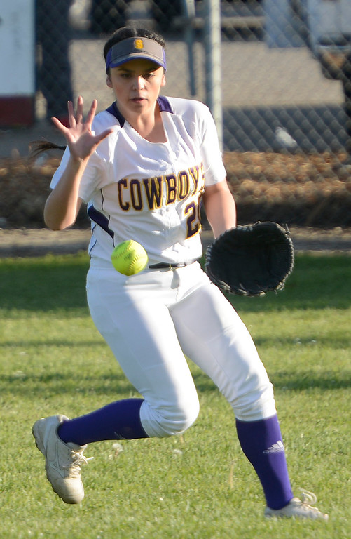 . Salinas center fielder Ashley Isla reels in a hit by Carmel during softball at the Salinas Sports Complex on Tuesday March 7, 2017. (David Royal - Monterey Herald)