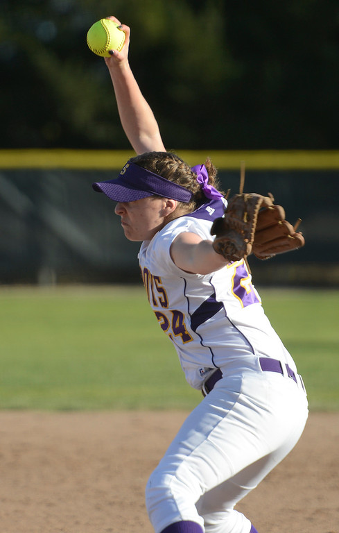 . Salinas\' Juliette Guerra pitches during softball against Carmel at the Salinas Sports Complex on Tuesday March 7, 2017. (David Royal - Monterey Herald)