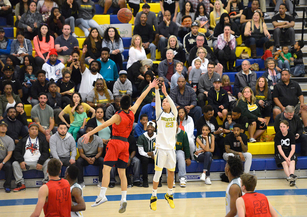 . Monterey\'s Tahjae Ordonio sinks a three pointer against Saratoga during the CCS Division III boys basketball finals at Santa Clara High School on Saturday March 4, 2017. (David Royal - Monterey Herald)
