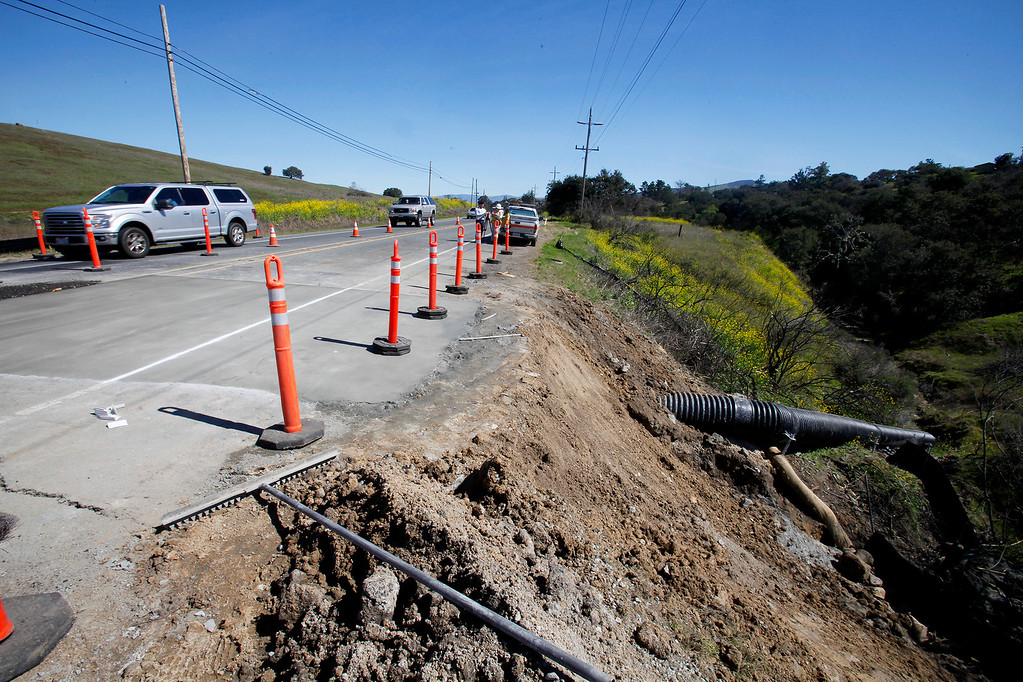 . Culvert replacement work continues on the Monterey Salinas Highway on Thursday, March 9, 2017.  Traffic delays of up to ten minutes can be expected.   (Vern Fisher - Monterey Herald)