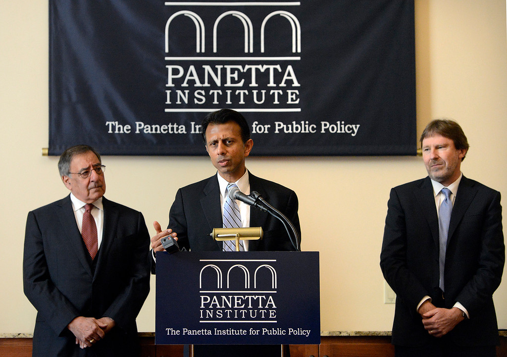 . Bobby Jindal, former presidential candidate and governor of Louisiana speaks beside Leon Panetta, left, former  CIA Director and former Secretary of Defense and Chris Jennings, senior health policy advisor for six Democratic presidential campaigns speak before a Panetta Lecture Series session focused on The Affordable Care Act at the Sunset Center in Carmel on Monday March 6, 2017. The 2017 lecture series focuses on �The Trump Presidency and the Future of America�. (David Royal - Monterey Herald)