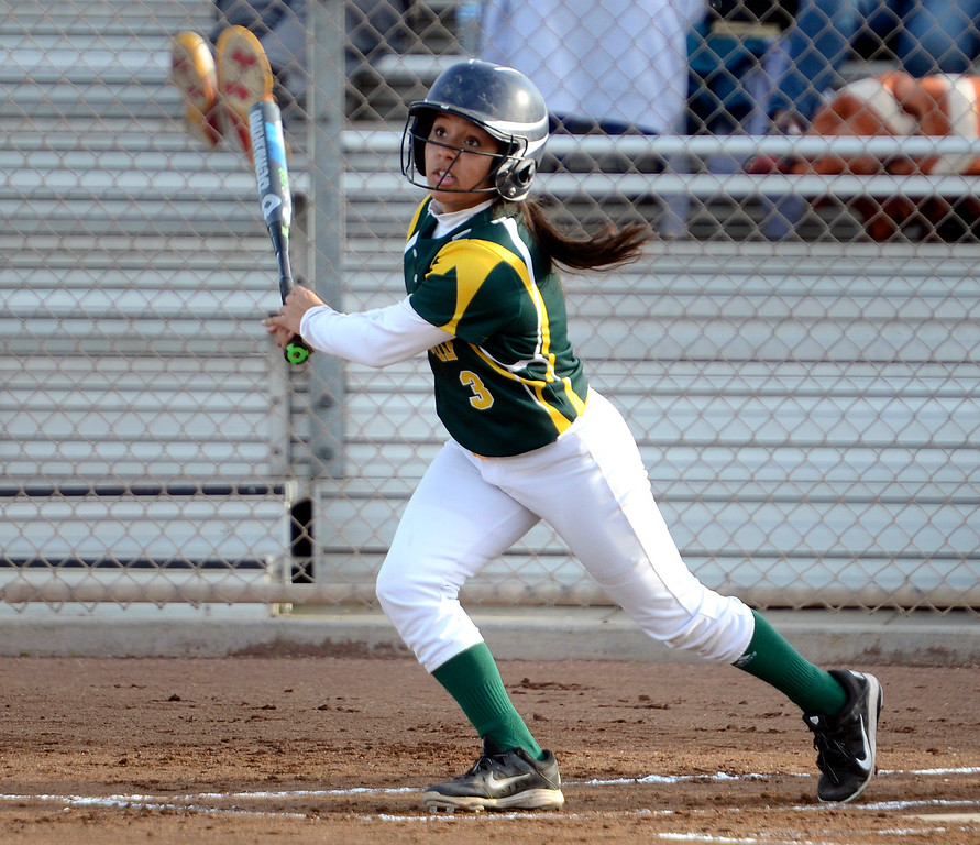 . Monterey\'s Lexi Singh tracks a hit against Aptos during softball at Jacks Park in Monterey on Thursday March 9, 2017. (David Royal - Monterey Herald)