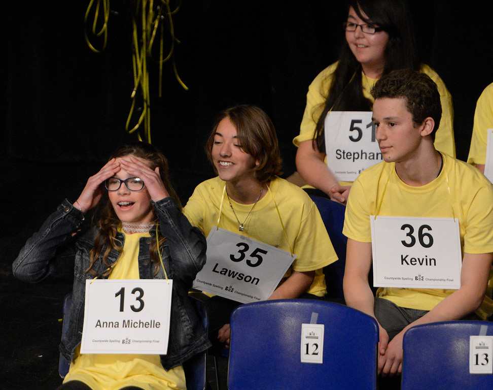 . Buena Vista Middle School seventh grader Anna Michelle Chassion (13) reacts after spelling schnauzer correctly to make it out of the fourth round during the 2017 Countywide Spelling Bee at Hartnell College on Sunday March 5, 2017. (David Royal - Monterey Herald)