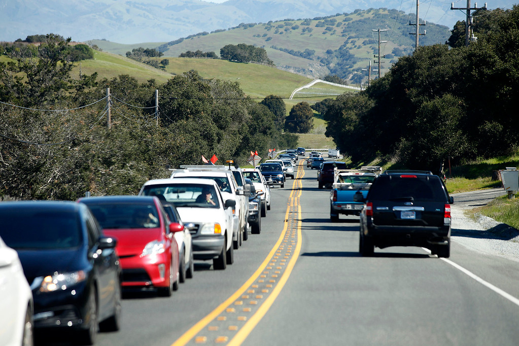 . Traffic on the Monterey Salinas Highway as culvert replacement work continues on Thursday, March 9, 2017.  Traffic delays of up to ten minutes can be expected.   (Vern Fisher - Monterey Herald)
