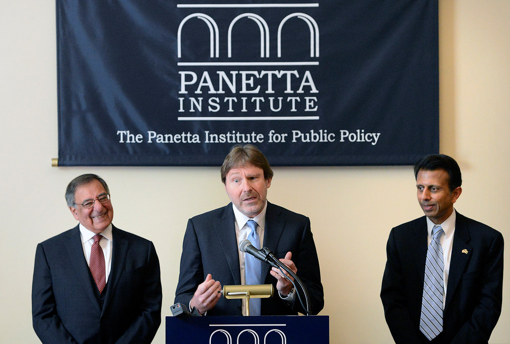 . Chris Jennings, senior health policy advisor for six Democratic presidential campaigns speaks between Leon Panetta, left, former CIA Director and former Secretary of Defense and Bobby Jindal, former presidential candidate and governor of Louisiana before a Panetta Lecture Series session focused on The Affordable Care Act at the Sunset Center in Carmel on Monday March 6, 2017. The 2017 lecture series focuses on �The Trump Presidency and the Future of America�. (David Royal - Monterey Herald)