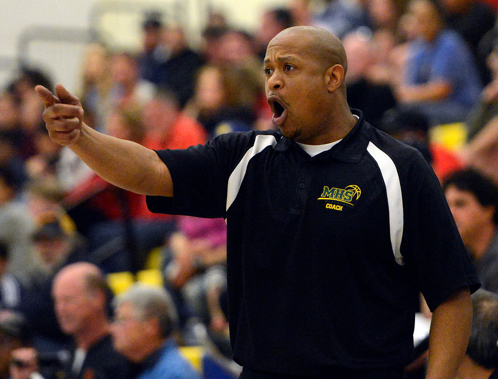 . Monterey coach Greg Daniels yells instructions to his team during their game against Saratoga during the CCS Division III boys basketball finals at Santa Clara High School on Saturday March 4, 2017. (David Royal - Monterey Herald)