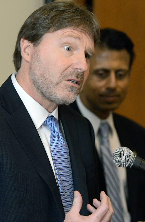 . Chris Jennings, senior health policy advisor for six Democratic presidential campaigns speaks beside Bobby Jindal, former presidential candidate and governor of Louisiana before a Panetta Lecture Series session focused on The Affordable Care Act at the Sunset Center in Carmel on Monday March 6, 2017. The 2017 lecture series focuses on �The Trump Presidency and the Future of America�. (David Royal - Monterey Herald)
