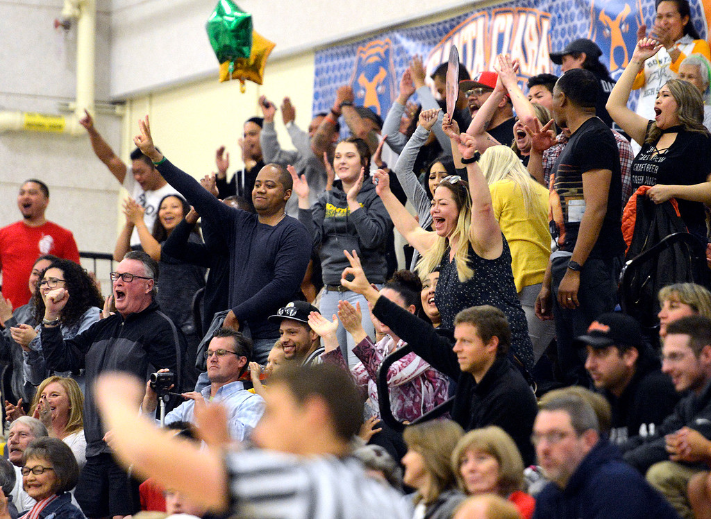 . Monterey fans react after their team sank a three pointer against Saratoga during the CCS Division III boys basketball finals at Santa Clara High School on Saturday March 4, 2017. (David Royal - Monterey Herald)