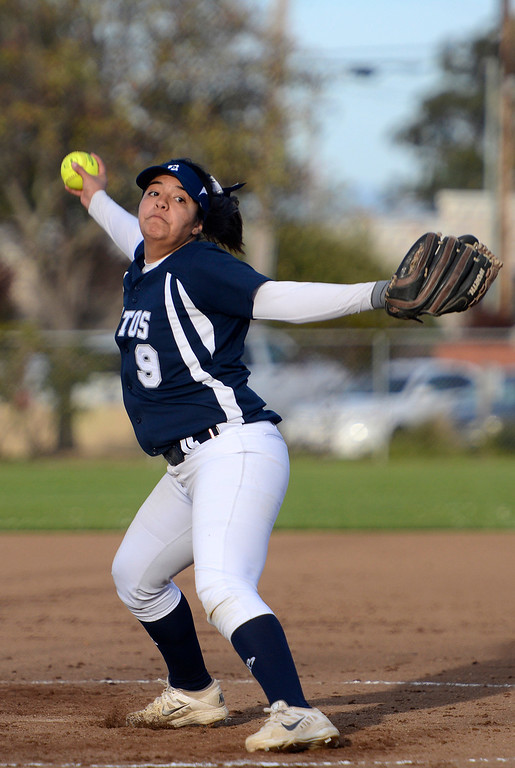 . Aptos\' Mariah Sanchez pitches against Monterey during softball at Jacks Park in Monterey on Thursday March 9, 2017. (David Royal - Monterey Herald)