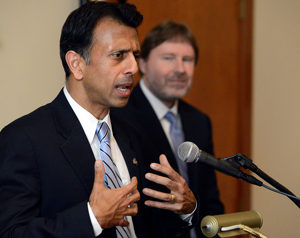 . Bobby Jindal, former presidential candidate and governor of Louisiana speaks beside Chris Jennings, senior health policy advisor for six Democratic presidential campaigns before a Panetta Lecture Series session focused on The Affordable Care Act at the Sunset Center in Carmel on Monday March 6, 2017. The 2017 lecture series focuses on �The Trump Presidency and the Future of America�. (David Royal - Monterey Herald)