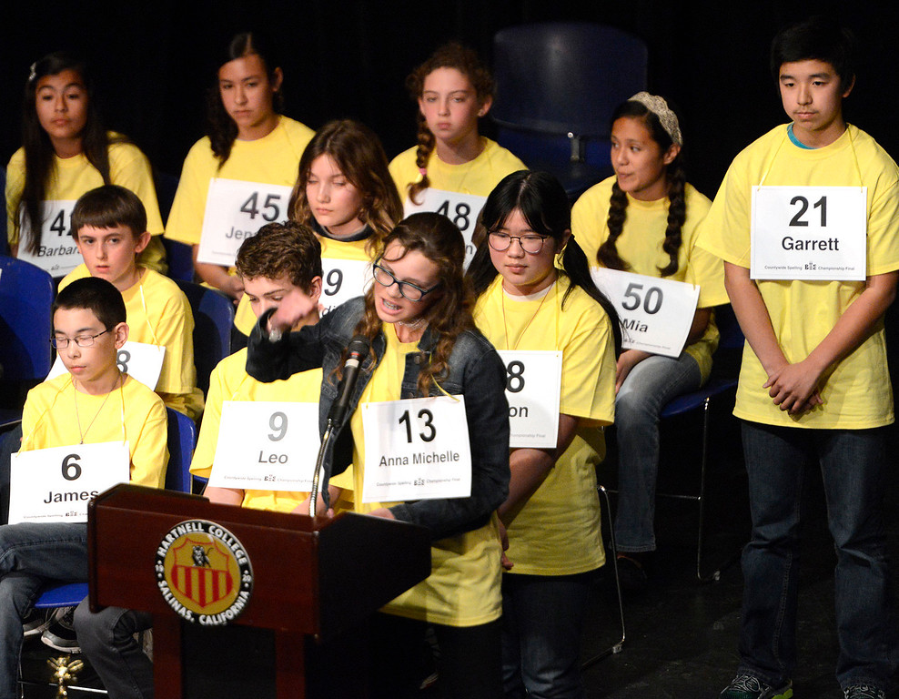 . Buena Vista Middle School seventh grader Anna Michelle Chassion pumps her fist after spelling schnauzer correctly to make it out of the fourth round during the 2017 Countywide Spelling Bee at Hartnell College on Sunday March 5, 2017. (David Royal - Monterey Herald)