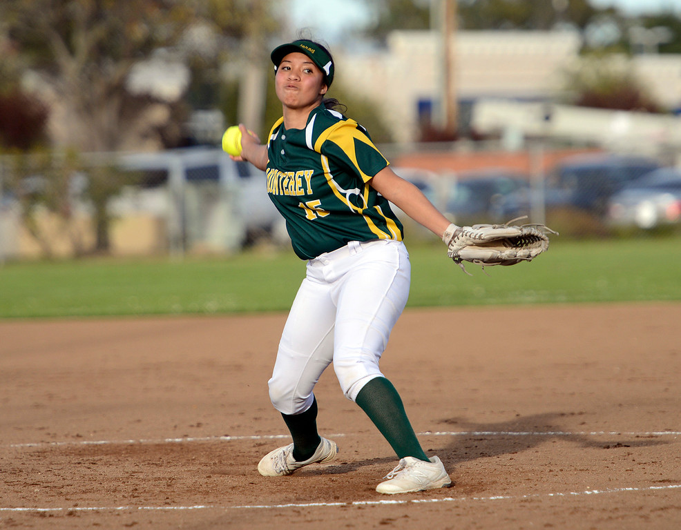 . Monterey\'s Melissa Finona pitches against Aptos during softball at Jacks Park in Monterey on Thursday March 9, 2017. (David Royal - Monterey Herald)