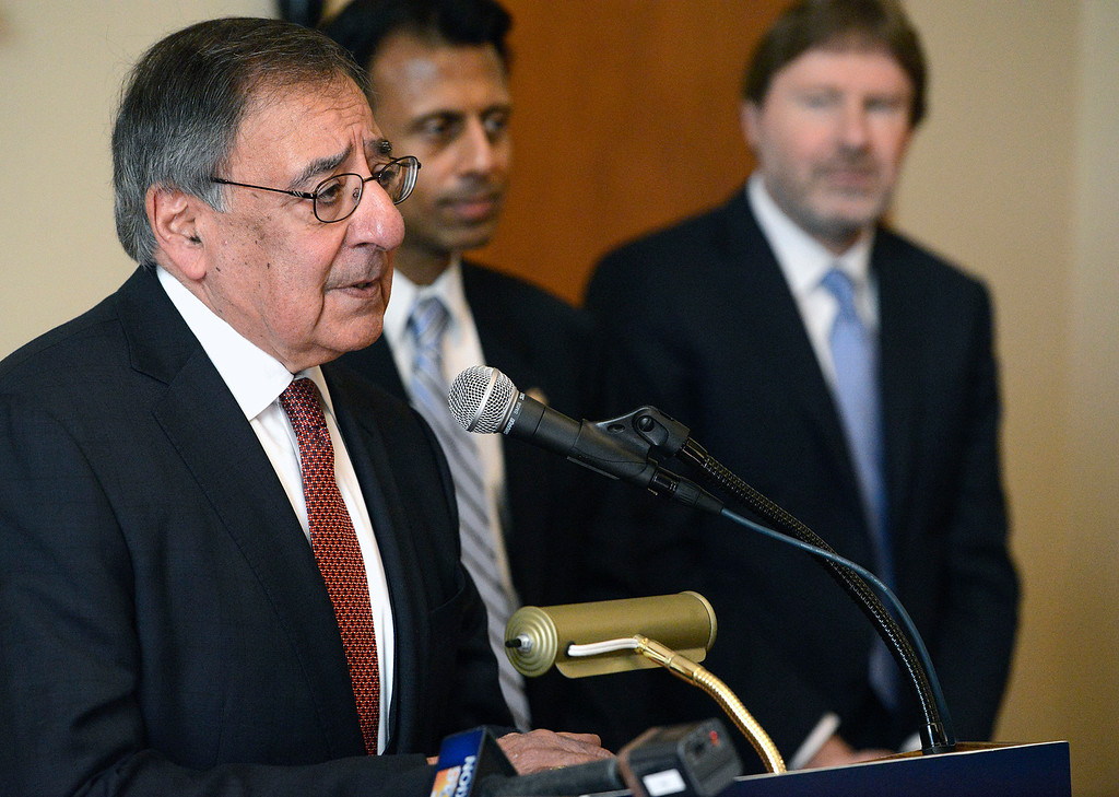 . Leon Panetta, former  CIA Director and Secretary of Defense speaks about Trumps latest moves on immigration beside Bobby Jindal, former presidential candidate and governor of Louisiana  and Chris Jennings, senior health policy advisor for six Democratic presidential campaigns speak before a Panetta Lecture Series session focused on The Affordable Care Act at the Sunset Center in Carmel on Monday March 6, 2017. The 2017 lecture series focuses on �The Trump Presidency and the Future of America�. (David Royal - Monterey Herald)