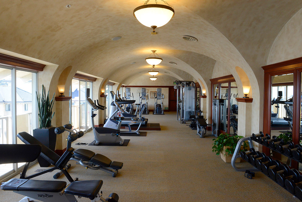 . The gym at the Monterey Plaza Hotel and Spa on Tuesday, April 3, 2018.  The iconic Monterey hotel recently went through major renovations.  (Vern Fisher - Monterey Herald)