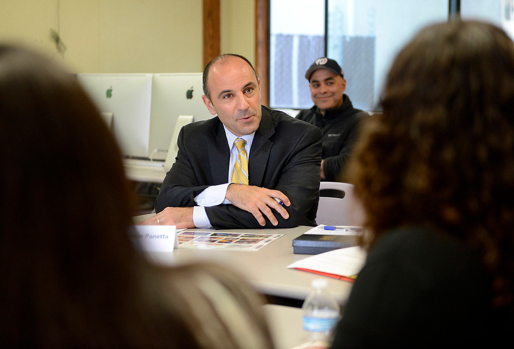 . Congressman Jimmy Panetta meets with Gonzales High School students who are participating in the Wings of Knowledge (WOK) program on Monday, April 2, 2018.  Students discussed the project they have been working on in collaboration with the National Oceanic and Atmospheric Administration (NOAA) and share a prototype of a system they developed to gather weather data for NOAA.  (Vern Fisher - Monterey Herald)