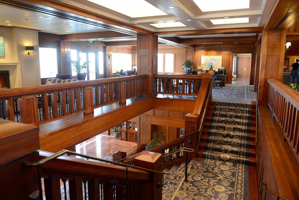 . The newly renovated lobby at the Monterey Plaza Hotel and Spa on Tuesday, April 3, 2018.  The iconic Monterey hotel recently went through major renovations.  (Vern Fisher - Monterey Herald)