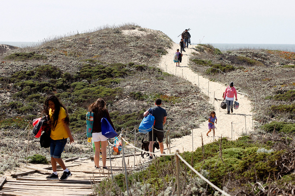 . People head to the beach at Salinas River State Beach on Friday, March 30, 2018.  (Vern Fisher - Monterey Herald)