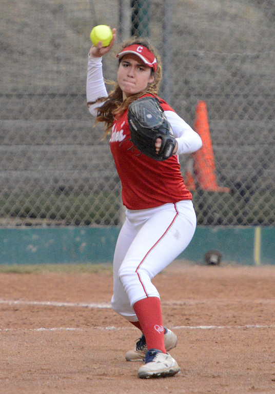. Carmel\'s Anna Buzan makes a play at third basr during softball at Pacific Grove Municipal Softball Park on Thursday April 6, 2017. (David Royal - Monterey Herald)