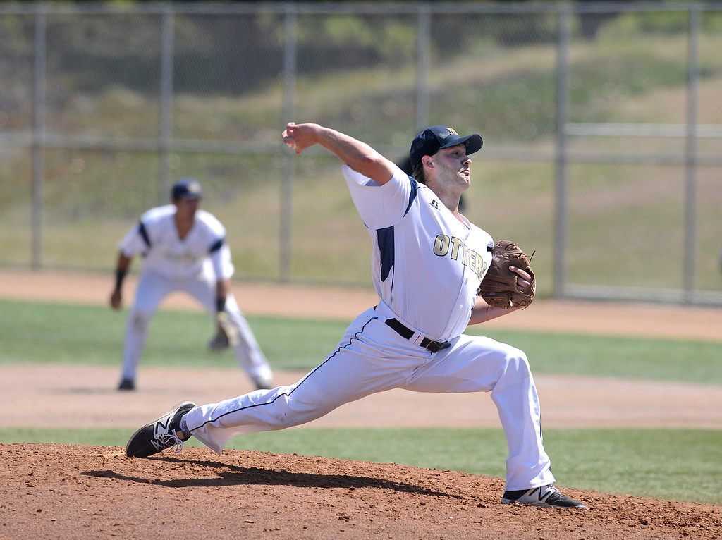 . CSU Monterey Bay\'s Drew Kozain pitches during baseball against Cal Poly Pomona at CSUMB in Seaside on Saturday April 1, 2017. The Otters won the game 3-1. (David Royal - Monterey Herald)