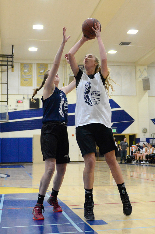 . Stevenson\'s Fauve Koontz shoots during the girls 10th annual North-South All-Star Basketball Classic at Everett Alvarez High School in Salinas on Friday March 31, 2017. (David Royal - Monterey Herald)