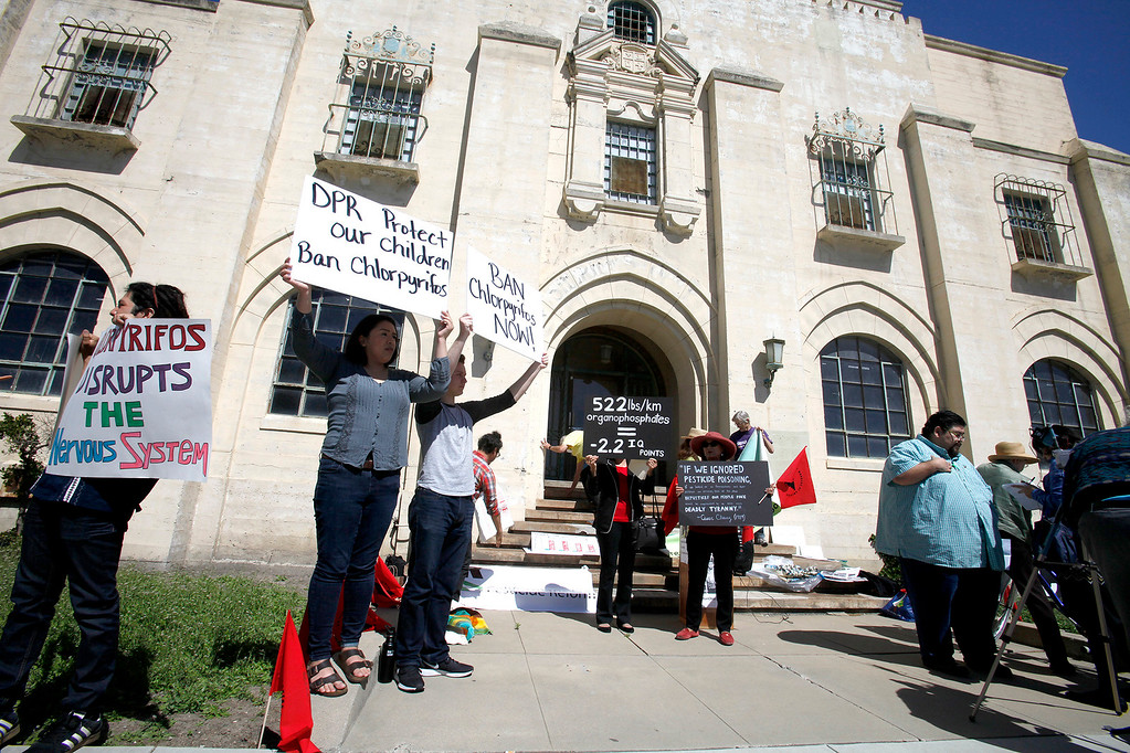 . A protest of the farmworking community that is demanding that Governor Brown step up to enact a statewide ban of the brain-harming organophosphate pesticide chlorpyrifos at the old Monterey County Jail in Salinas on Friday, March 31, 2017.   (Vern Fisher - Monterey Herald)