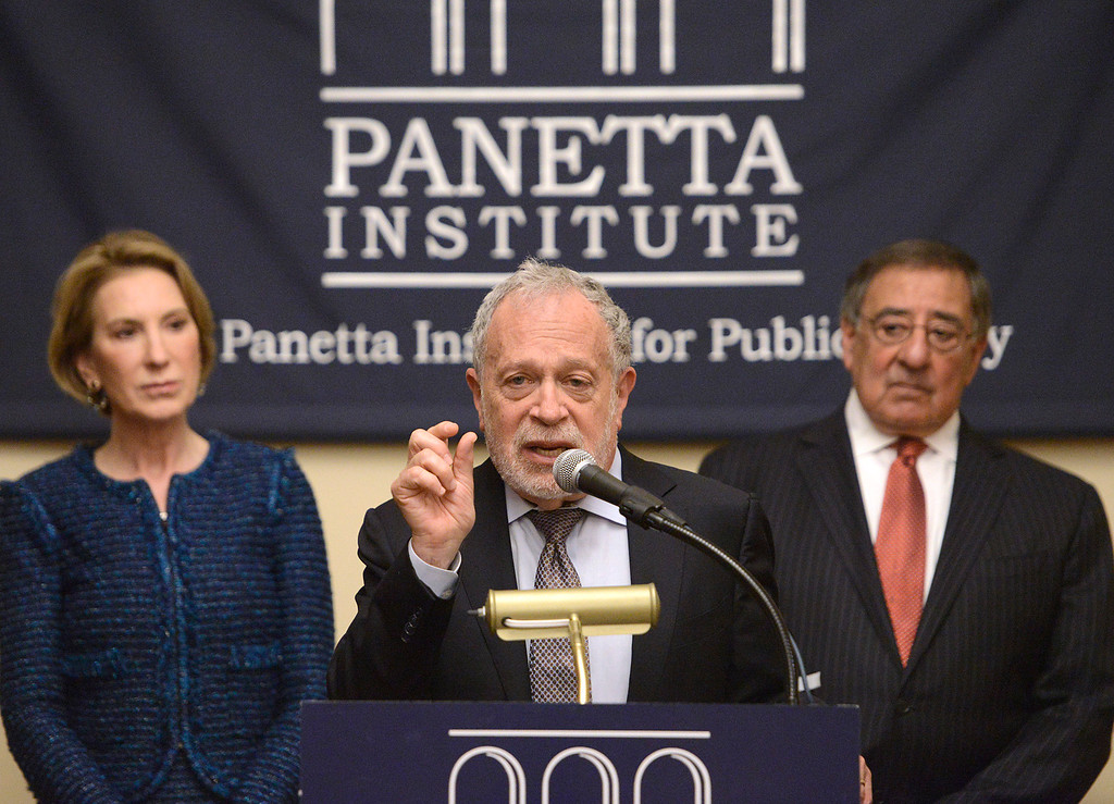 . Robert Reich, former U.S. Secretary of Labor. speaks between Carly Forina, former CEO of Hewlett-Packard and 2016 presidential candidate former Secretary of Defense Leon Panetta during a press conference before the second event of the 2017 Leon Panetta Lecture Series the at the Sunset Center in Carmel on Monday April 3, 2017. (David Royal - Monterey Herald)