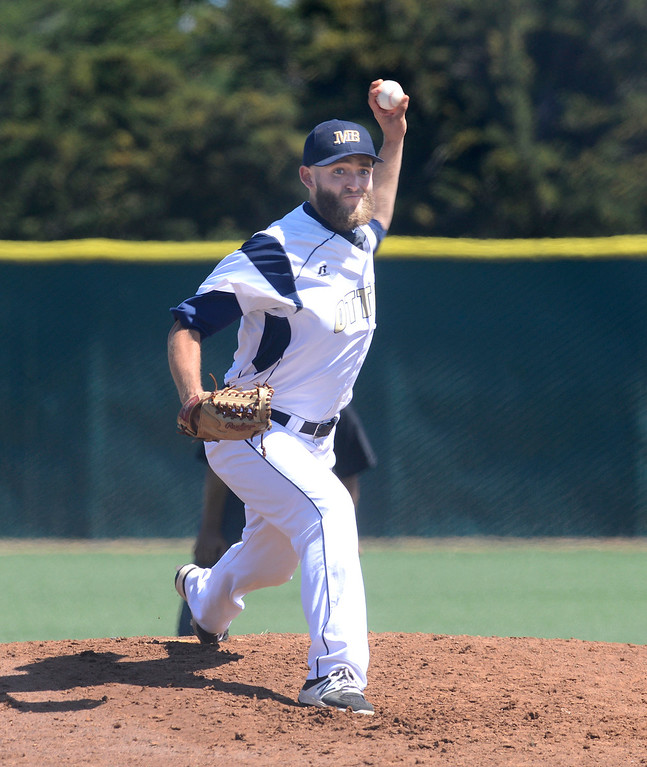 . CSU Monterey Bay\'s Jeffery Ahern pitches during baseball against Cal Poly Pomona at CSUMB in Seaside on Saturday April 1, 2017. The Otters won the game 3-1. (David Royal - Monterey Herald)