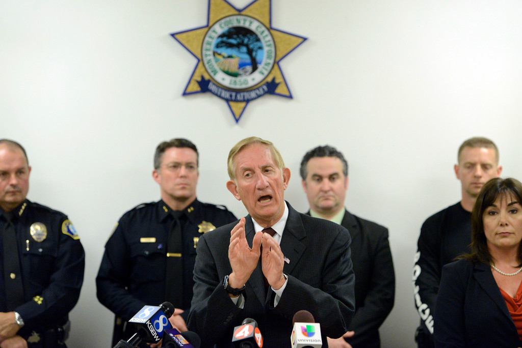 . Monterey County District Attorney Dean Flippo speaks while flanked by members of county law enforcement leadership and assistant D.A. Jeannie Pacioni while announcing that Charles Allen Holifield with be charged in the 1998 kidnapping and murder of Christina Williams during a press conference at the Monterey County Government Center in Salinas on Thursday April 6, 2017. Holifield is currently serving time in a California prison. (David Royal - Monterey Herald)