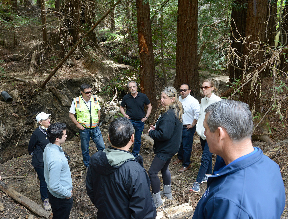 . Cheryl Goetz Midcoast Fire Brigade Chief speaks about the challenges after this past summer\'s fire damage during a tour of storm damaged areas in Palo Colorado Canyon in Big Sur on Tuesday April 4, 2017. (David Royal - Monterey Herald)