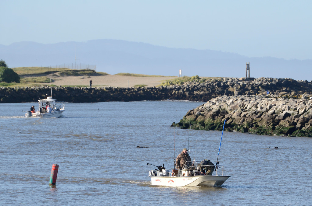 . Rick Reed of San Jose returns to the Moss Landing Harbor empty handed after his boat was tangled on a crab pot during the opening day of the recreational salmon season on Saturday April 1, 2017. (David Royal - Monterey Herald)