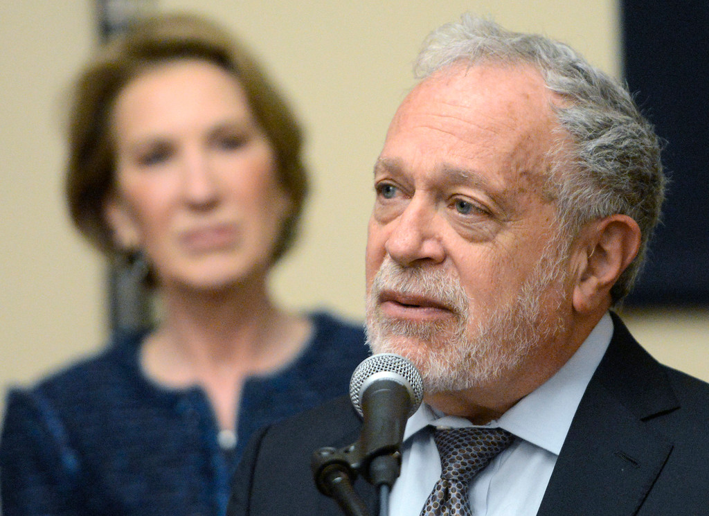 . Robert Reich, former U.S. Secretary of Labor, speaks beside Carly Forina, former CEO of Hewlett-Packard during a press conference before the second event of the 2017 Leon Panetta Lecture Series the at the Sunset Center in Carmel on Monday April 3, 2017. (David Royal - Monterey Herald)
