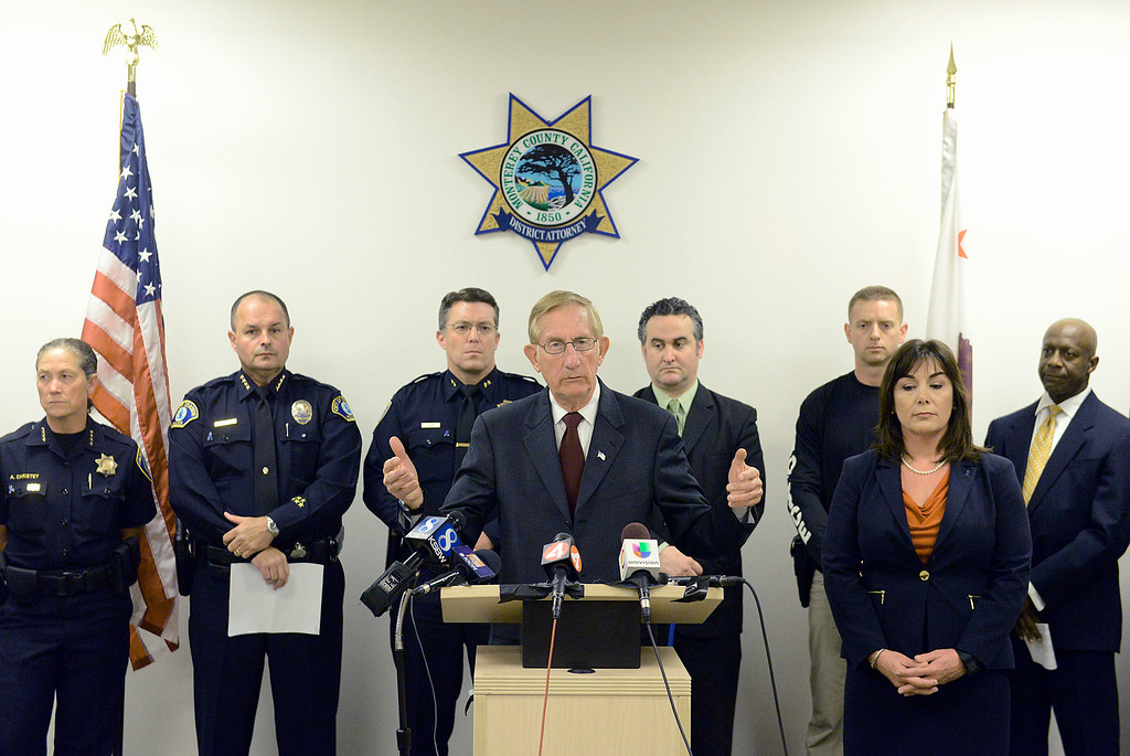 . Monterey County District Attorney Dean Flippo speaks while flanked by members of county law enforcement leadership, the FBI and assistant D.A. Jeannie Pacioni while announcing that Charles Allen Holifield with be charged in the 1998 kidnapping and murder of Christina Williams during a press conference at the Monterey County Government Center in Salinas on Thursday April 6, 2017. Holifield is currently serving time in a California prison. (David Royal - Monterey Herald)